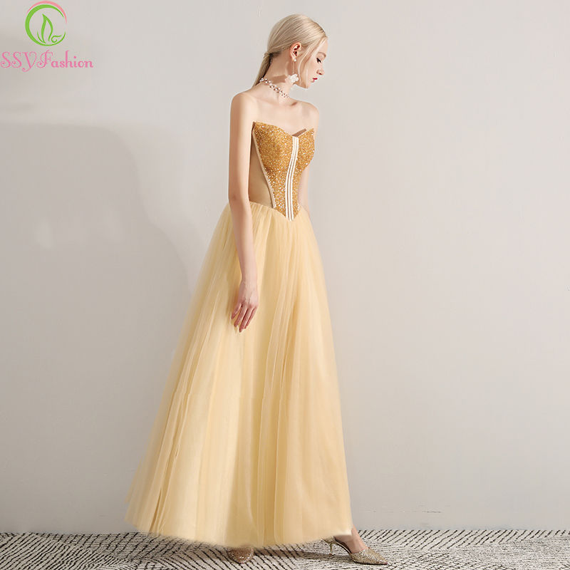 SSYFashion 2019 New Luxury Evening Dress Banquet Elegant Gold Strapless Sequins Beading Formal Prom Gowns Robe De Soiree