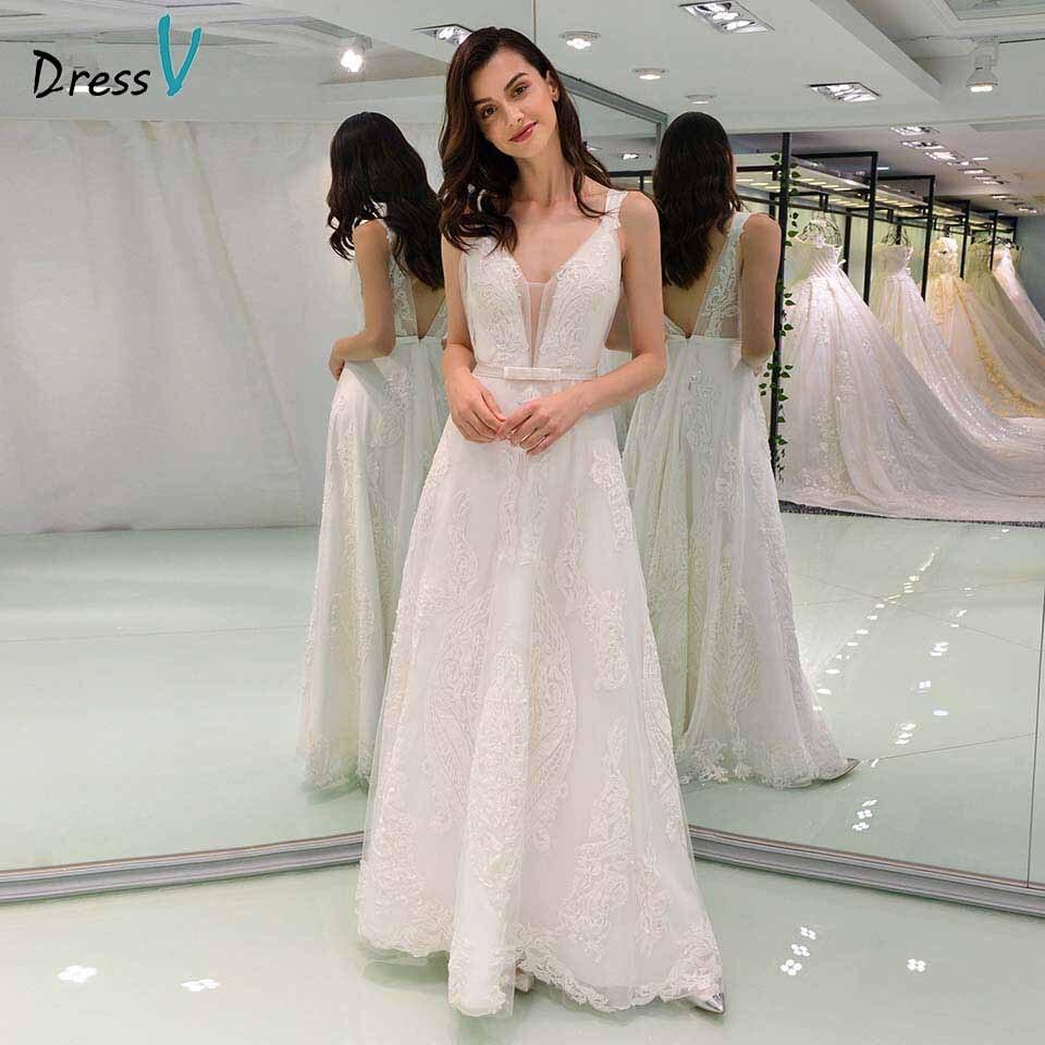Dressv Ivory Elegant V Neck A Line Lace Wedding Dress Beading Bowknot Floor Length Bridal Outdoor&church Wedding Dresses