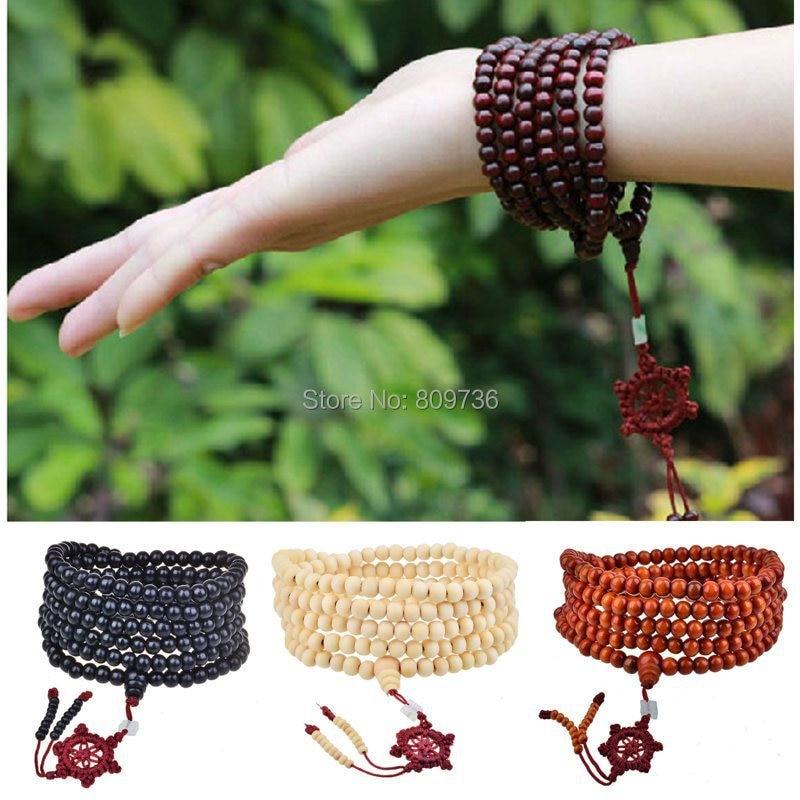 Pulseiras Pulseras Mujer Wood Bead Buddha Wrap Bracelets Men Women Multilayer Bracelet & Bangle Malas Strand Tibet Jewelry