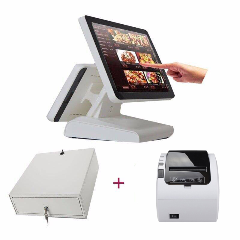 cash register white pos system dual screen cash register most popular 15 inch pos terminal with 80mm receipt printer cash drawer pure screen 15 inch cash register with printer cash drawer customer display and scanner all in one pc pos system for restaurant