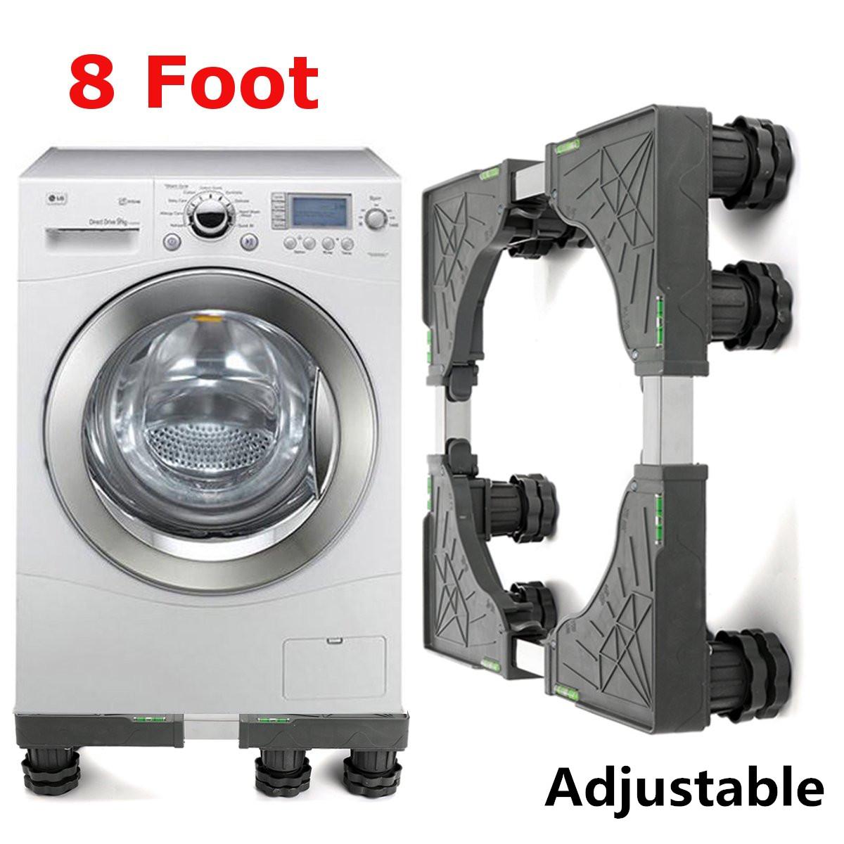 Fabriquer Socle Machine À Laver 8 pied acier inoxydable réglable lave-linge réfrigérateur support (charge  300 kg)