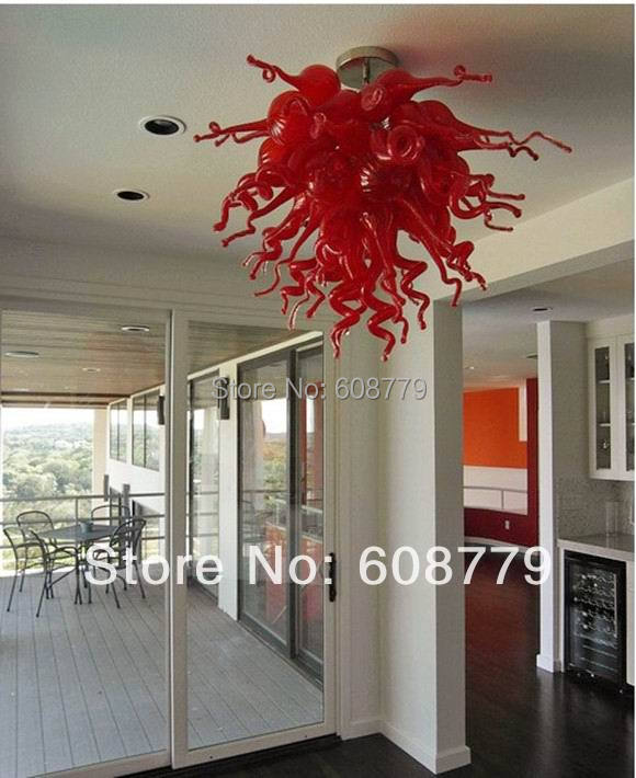 Inexpensive Red Chandelier: Free Shipping Fancy Lamp Home Blown Glass Red Crystal