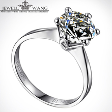 Jewellwang 18k White Gold Six Prong Setting Crown 0.5 Carat Color Level J K G I F G D E Moissanites Engagement Rings For Women