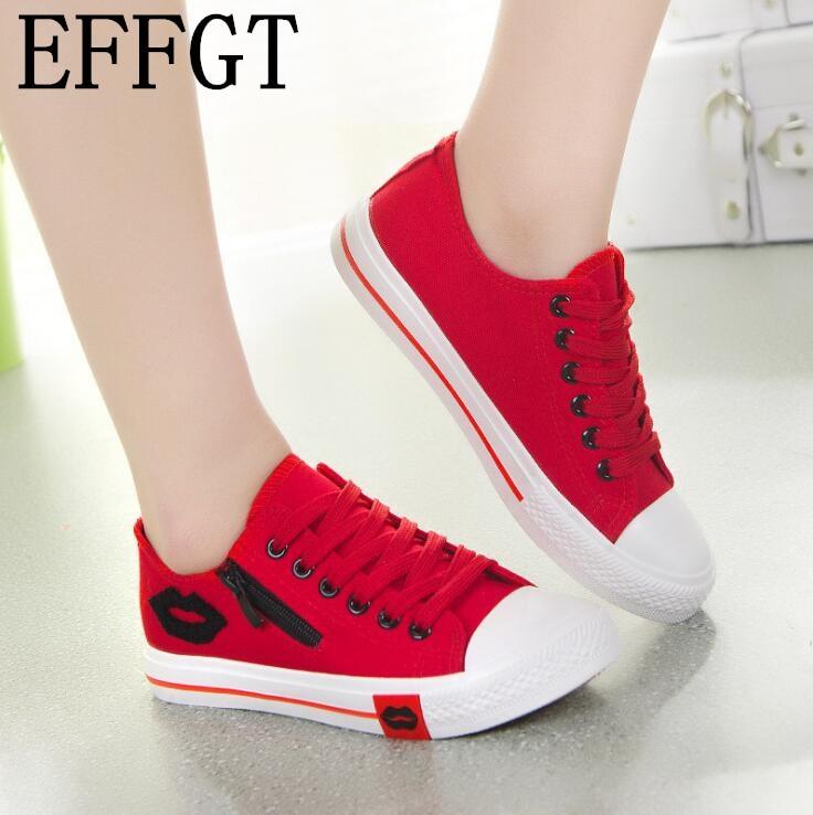 af5c33f2bf263c Chaussures Effgt B442 Sport Mode D'été Casual Aide Femmes Noir Confortables  Zipper up Toile Basse Lace blanc rouge ...