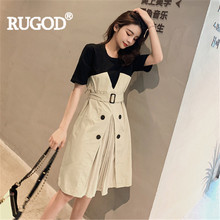 RUGOD Women solid patchwork short sleeve with belt a-line high waist knee-length dress 2019 new arrival office elegant fashion(China)