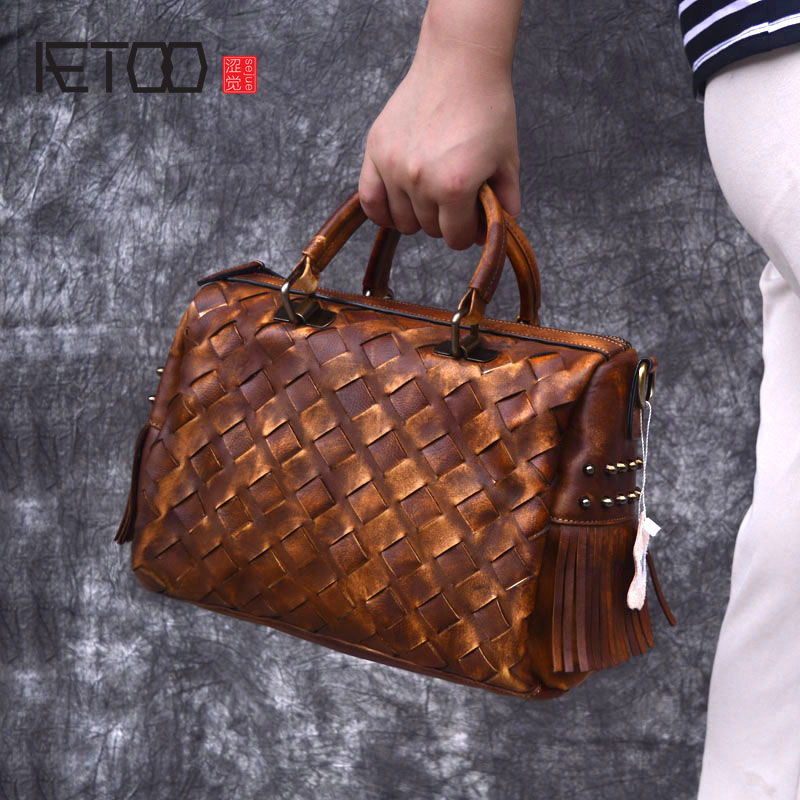 AETOO Crossbody Women Tote Handbag Bag Woven Purse Leisure Pillow Vintage Real Genuine Leather Top Handle Shoulder Messenger Bag 2018 vintage handmade women handbag top handle crossbody shoulder bag genuine leather big tote cow leather women bag mixed color