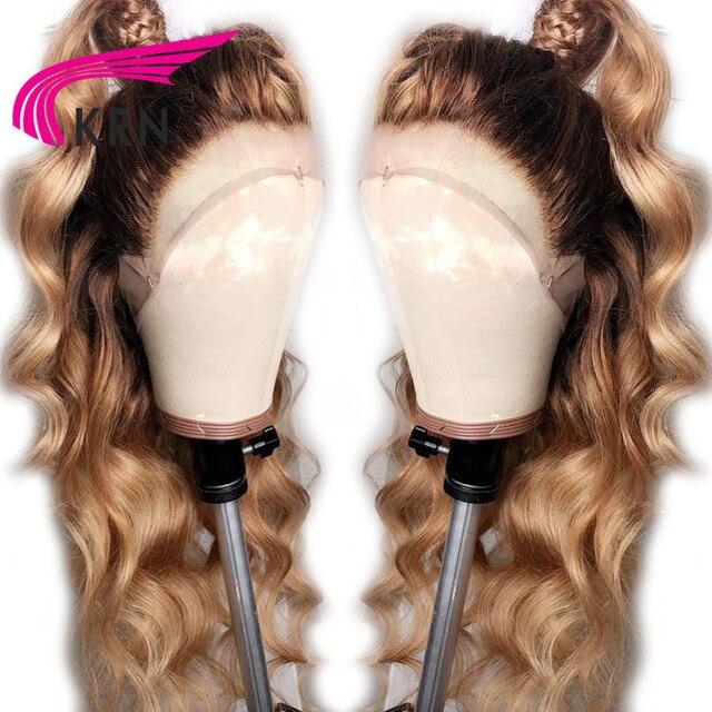 KRN #4/27 Ombre Brazil Ren Phía Trước Tóc Giả Tóc Con Người Với Mái Tóc Bé Cơ Thể Sóng Remy Pre Ngắt Ren Phía Trước tóc giả Cho Phụ Nữ