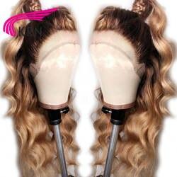 KRN #4/27 Ombre бразильский синтетические волосы на кружеве человеческие Искусственные парики с ребенком волос средства ухода за кожей