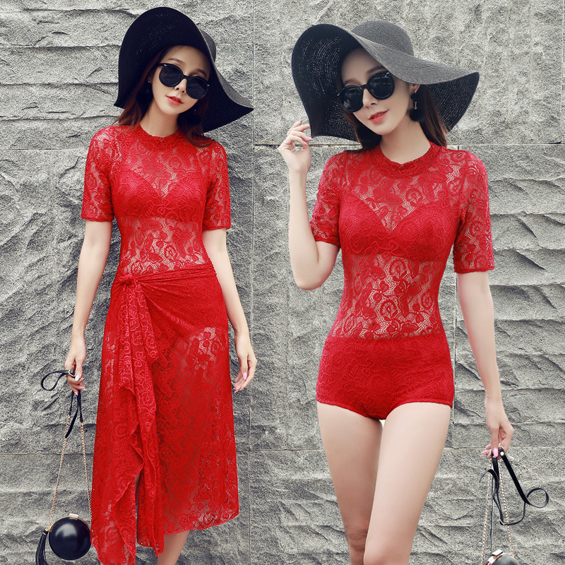 New Women sexy Three-piece Set Lace swimsuit one pieces Swimwear Underwire Push-Up With pad Half Sleeve Cover Up Bathing Suit