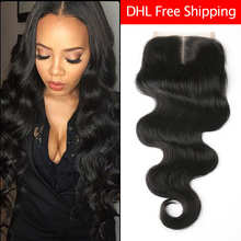 8A Brazilian Virgin Hair Body Wave Lace Closure 100% Unprocessed Human Hair Closure Free Middle 3 Part Closure Bleached Knots