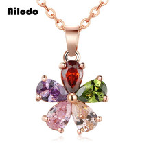 Ailodo Fashion Colorful Flower Pendant Necklace For Women Crystal CZ Long Chain Collar Bijoux Femme Gift LD111