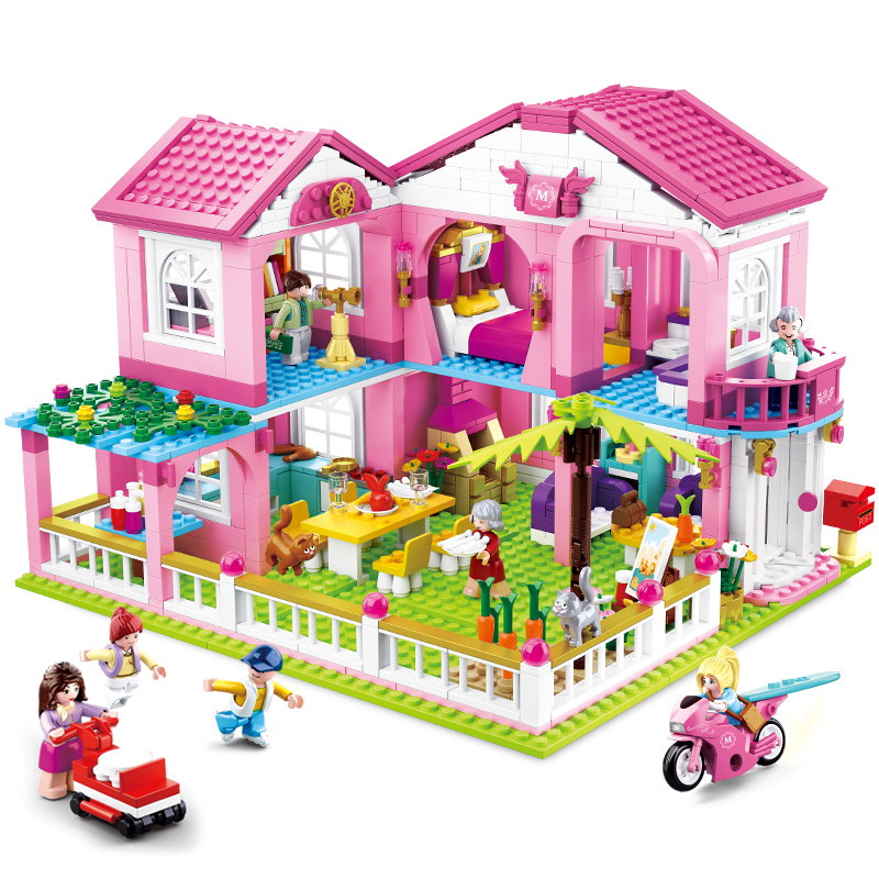 City House Building Blocks Castle Educational Toy For Children duplo Friends For Girls DIY figures Bricks