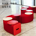 Fashion Creative Red Kraft Paper Folding Sofa,Modern Minimalist Design Space- saving Sofa for office room,9 to12 people Seat