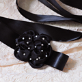 TOPQUEEN S223 FREE SHIPPING Stock Pure handmade Beautiful Flower Bridal Belts Fashionable Black Wedding Bridal Sashes
