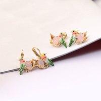 Les Nereides אמייל זיגוג אני אוהב את סדרת בעלי החיים צבעוניים הקטן יונקי דבש עגילי פנינת נשים