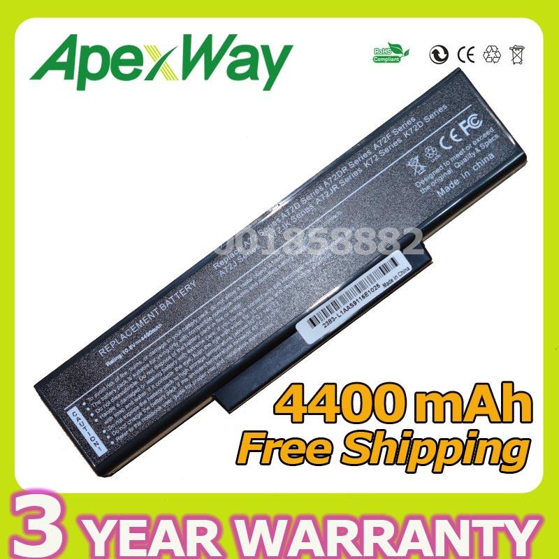 Apexway 4400 mAh batterie pour Asus NZYB1000Z A32-K72 A32-N71 K72 K72D K73SV N71 N73V d'occasion  Livré partout en France