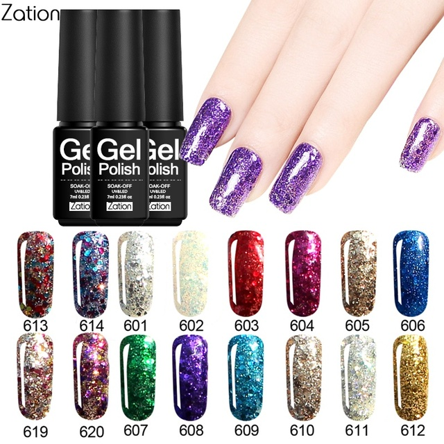 Zation Gel Nail Polish Set Varnish Diamond Nail Gel Enamel Shimmer ...