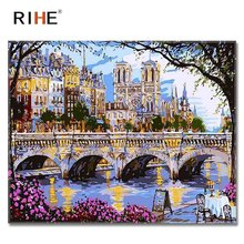 RIHE Westminster Abbey Diy Painting By Numbers Abstract Bridge Oil On Canvas Cuadros Decoracion Acrylic Wall Picture