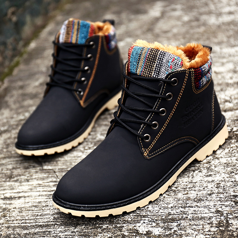 351716abe6ff6d Aliexpress.com : Buy Pointed Blue Fashion Men Boots Plush Fur Warm  Waterproof Male Winter Boots Lace Up Male Winter Boots Flat Leather  Tactical Boot from ...