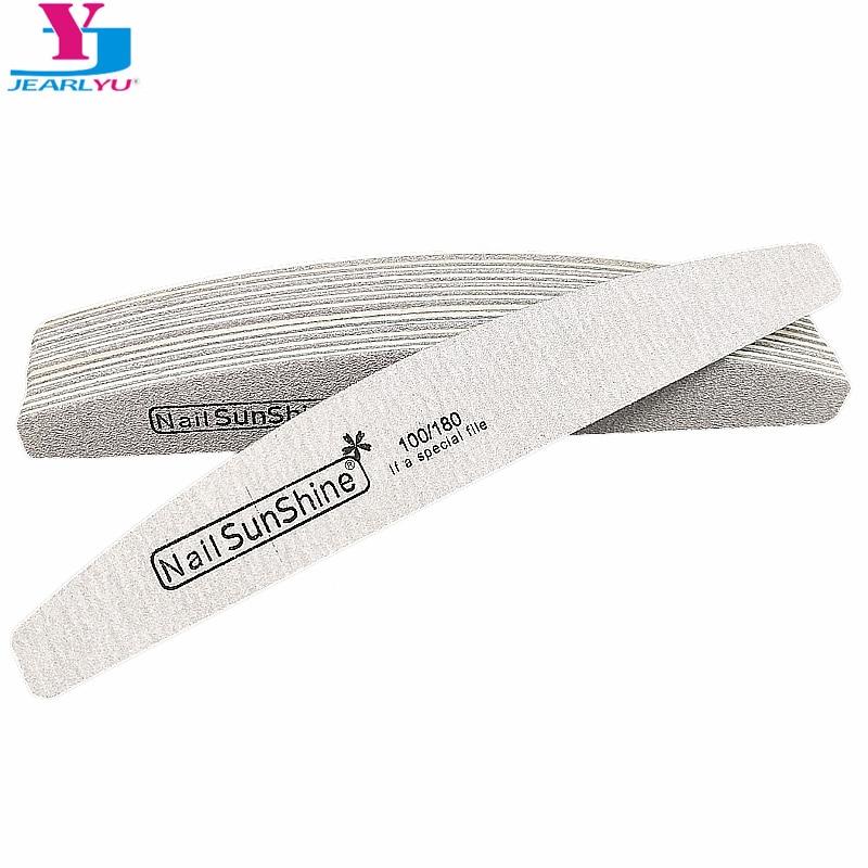10pcs 100/180 Nail File Crescent Nail Art Sanding Files Gel Polish Grey Sandpaper Buffing Curve Limas Para Manicura Care Tools
