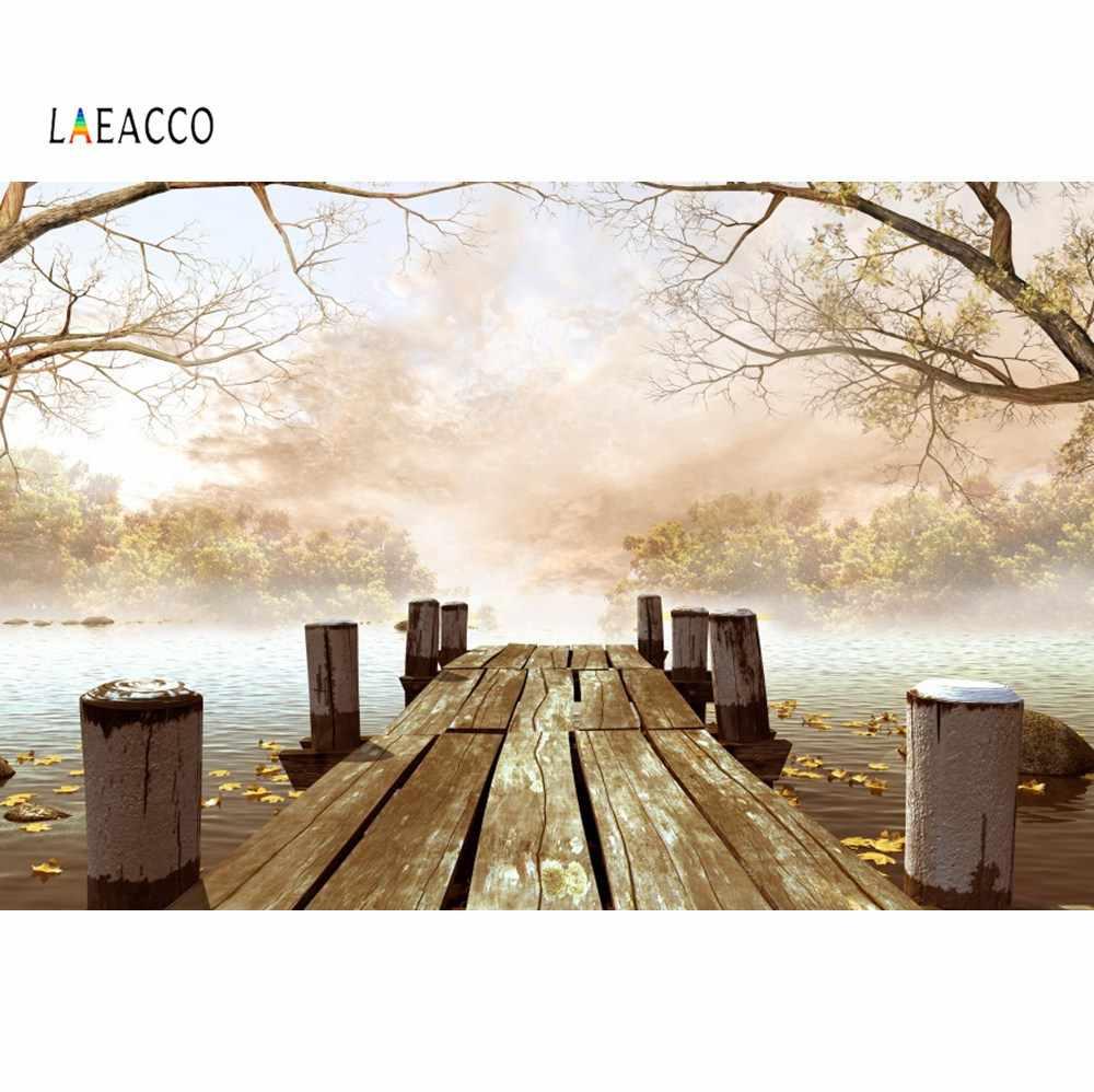Leowefowa Wood Bridge Small Island Backdrop for Photography Vinyl Seascape Background 12x8ft Child Adult Shoot Indoor Decors Landscape Wallpaper