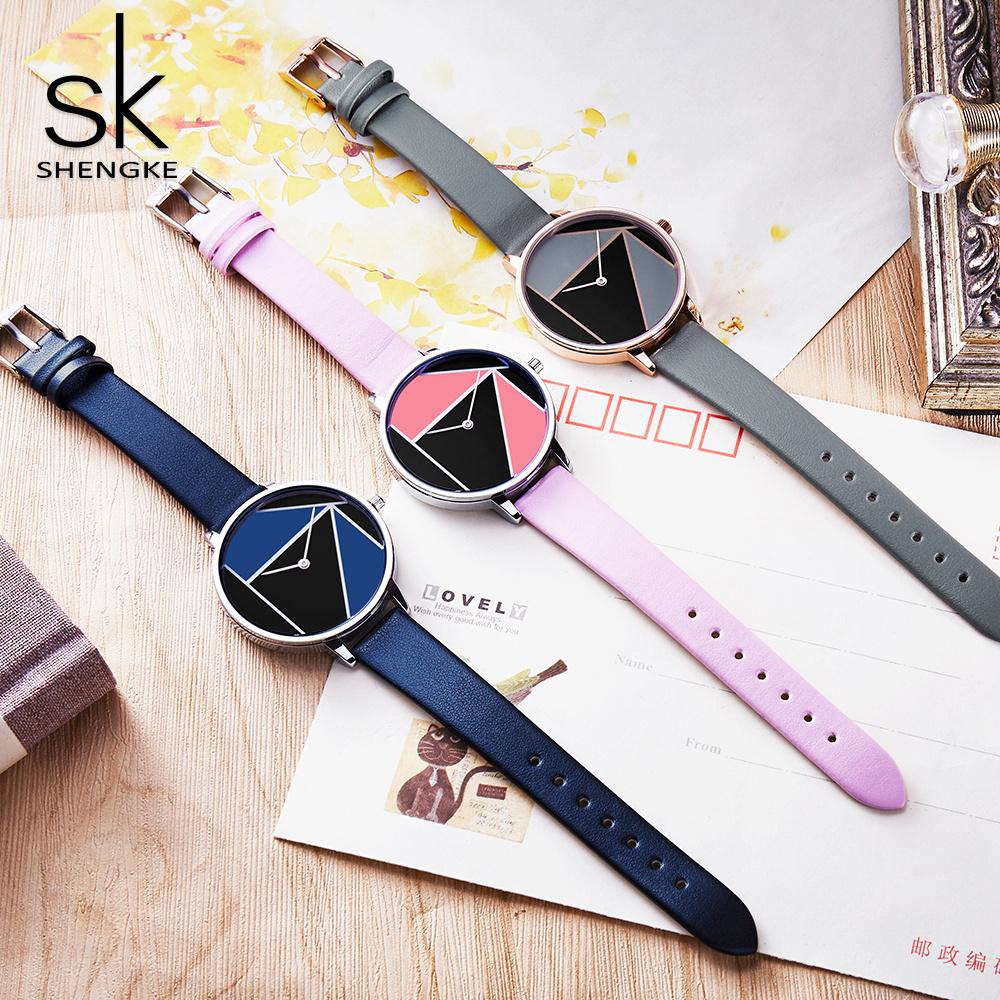 Shengke Leather Women Watches Top Brand Simple Casual Strap Watch Reloj Mujer 2018 Relogio Feminino Bracelet Dress Watch Women