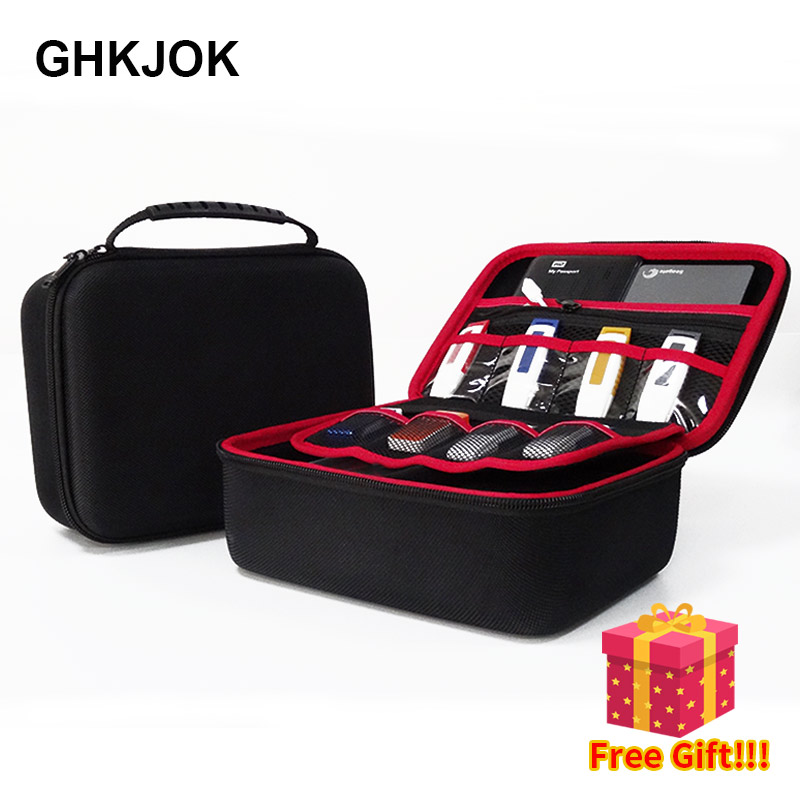 Large Size Electronic Gadgets Storage Case Bag Travel Organizer Case For HDD USB Flash Drive Data Cable Digital Storage Bag-in Bags from Consumer Electronics