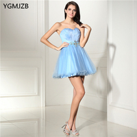 Sky Blue Short Feathers Cocktail Dresses Sexy Backless Sweetheart Beaded Sleeveless Mini Homecoming Party Prom Dresses