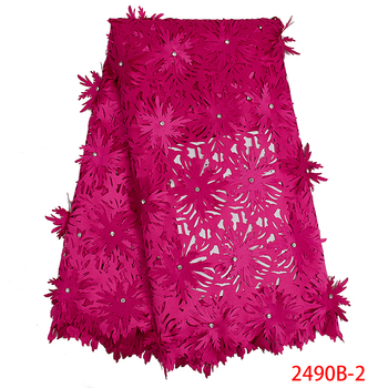 New Laser Cut Lace Fabric with Beads Nigerian Lace Fabrics High Quality 2019 African Lace Fabrics for Party Dress APW2490B-1