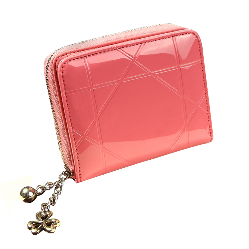 Hot Fashion Women's PU Patent leather Purse Clutch ID Credit Card Holder Short Lattice Zipper Wallet Small Bag Red Rose