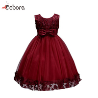 2017 New Fashion Flower Bow Baby Girl Dress Prom Princess Party Dresss Children Summer Clothing