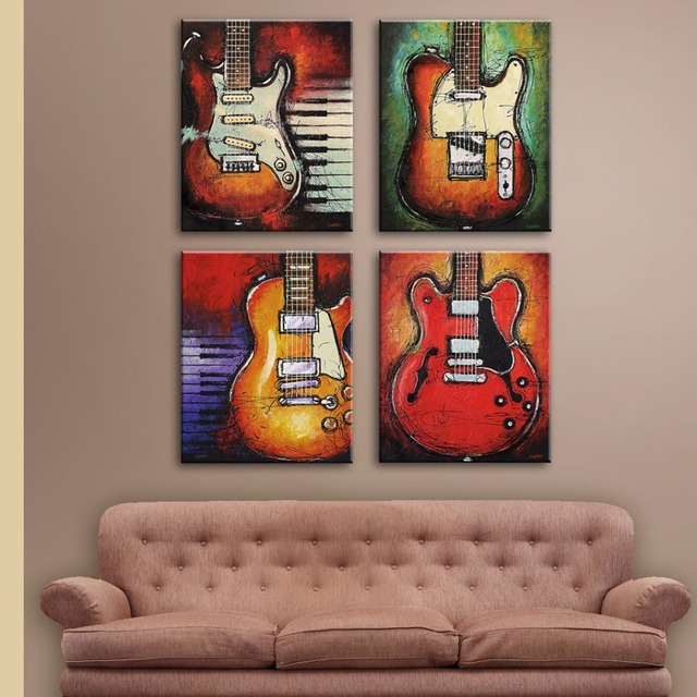 No Framed Still Life Picture Print On Canvas Abstract 4 Pieces Guitar Wall Pictures For Living
