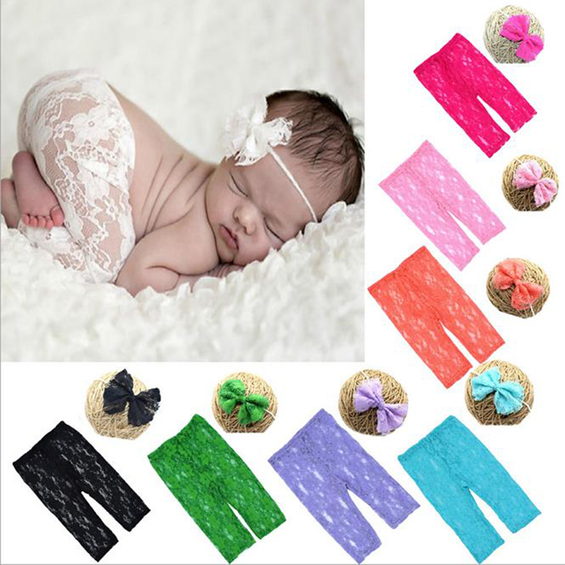 Headband-Set Lace-Pants Baby Photo-Accessories Toddlers Infant Fashion Costume Photography-Props