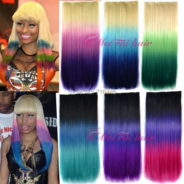 1pc 120g 65cm Dying hair extension clips in Synthetic Hair Hairpiece ...