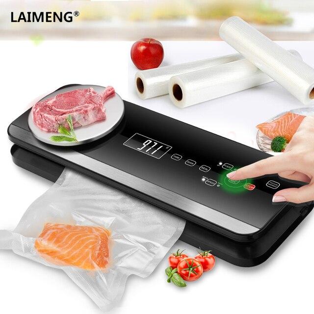 LAIMENG Sous Vide Com Sacos de Vácuo Aferidor do Vácuo Automática Máquina de Embalagem Pacote Empacotador do Vácuo Para Cozinha Alimentos Frescos S198