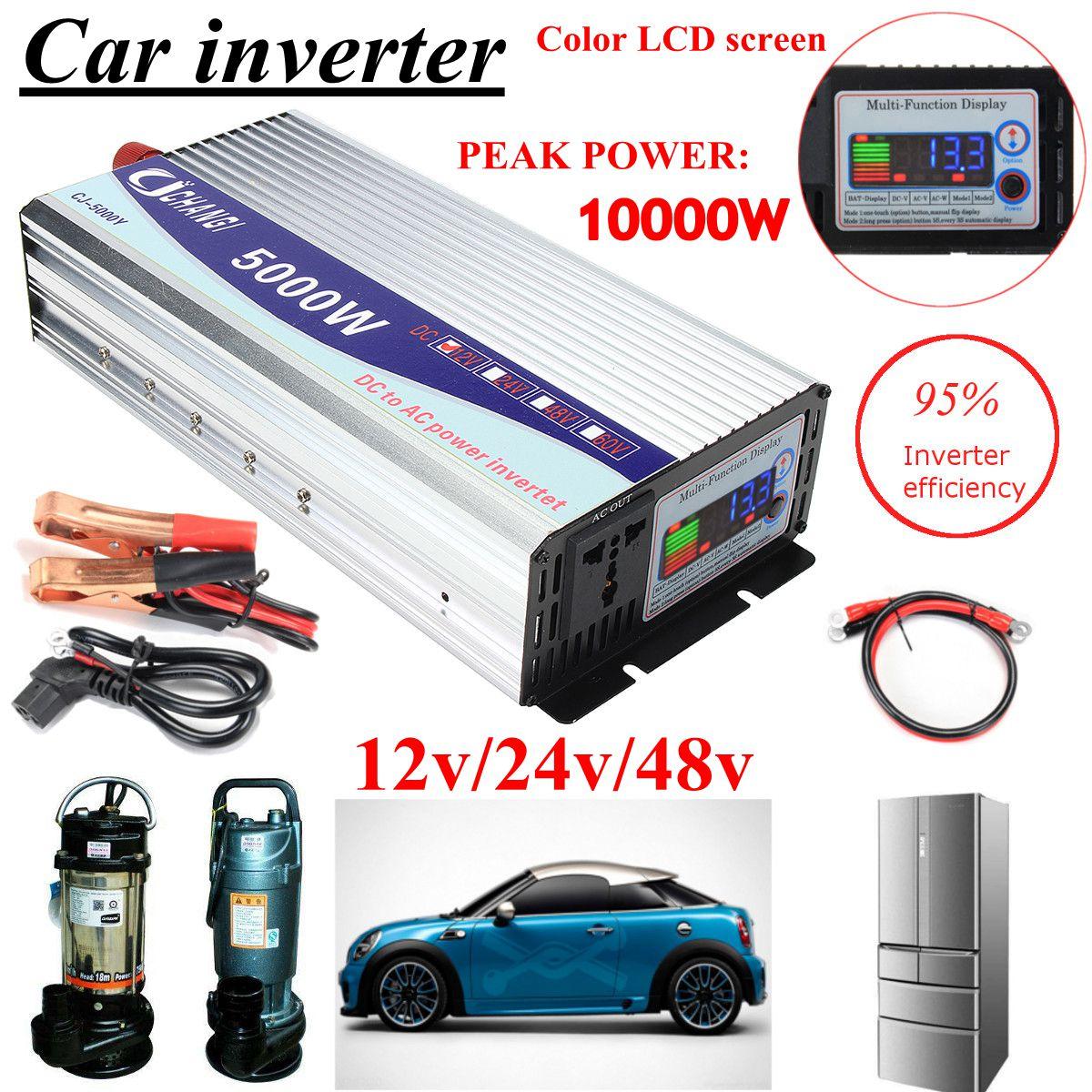Onduleur 12 V/24 V/48 V 220V 5000W 10000W pics onduleur à onde sinusoïdale modifiée transformateur de tension convertisseur + écran LCD - 2