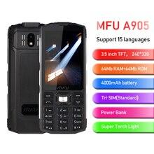 """MFU A905 3.5 """"IP68 étanche téléphone portable Tri carte SIM 4000mAh longue veille sans fil FM torche batterie externe gros Volume téléphones portables"""