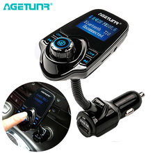 Agetunr T10 Bluetooth Mobil Kit Handsfree Set FM Transmitter AUX Mobil MP3 Musik Player 5V 2.1A USB Charger(China)
