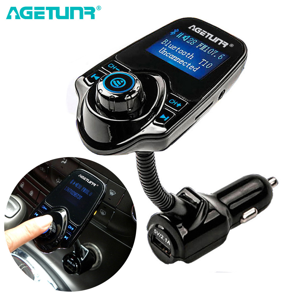 AGETUNR Bluetooth Car Kit Handsfree Set FM Transmitter MP3 Musikafspiller 5V 2.1A USB Billader Support Micro SD Card 4G-32G