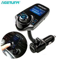 AGETUNR T10 بلوتوث سيارة عدة يدوي مجموعة FM الارسال AUX سيارة MP3 مشغل موسيقى 5 فولت 2.1A شاحن يو اس بي