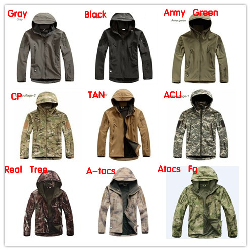 2dee94695a9f7 Army Camouflage Softshell Outdoor Jacket Men TAD Shark Green Military  Tactical Waterproof Sports Spring Hoody Hunting Jacket