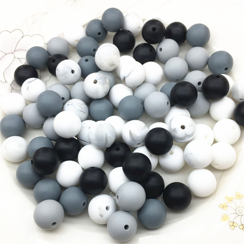 Chenkai 100pcs 9mm 12mm 15mm BPA Free DIY Silicone Teether Pendant Beads Baby Pacifier Dummy Jewelry Sensory Toy Accessories in Baby Teethers from Mother Kids