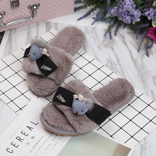 Women Winter Home Slippers Lovely Bear Shoes Non-slip Soft Winter Warm Slippers Indoor Bedroom Loves Couple Floor Shoes Women halluci pink cute superstar home slippers women shoes polar fleece winter keep warm pulsh indoor slippers simple couple shoes