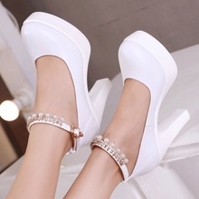 Spring Block Heel Pearl Wedding Shoes Women Pumps 2019 White