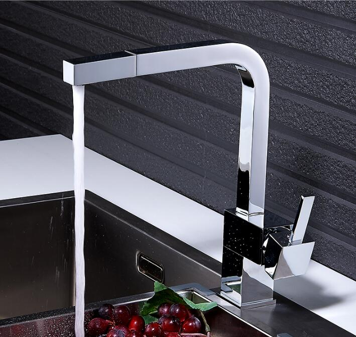 Fashion high quality single lever chrome Kitchen faucet single hole square kitchen tap mixer with pull out shower head