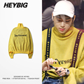 Knitted HEYBIG Nov. Sweater 2016 new Russian Fashion Double Cuff pullovers Street hot Winter Turtleneck Hip hop Tops CN Size!