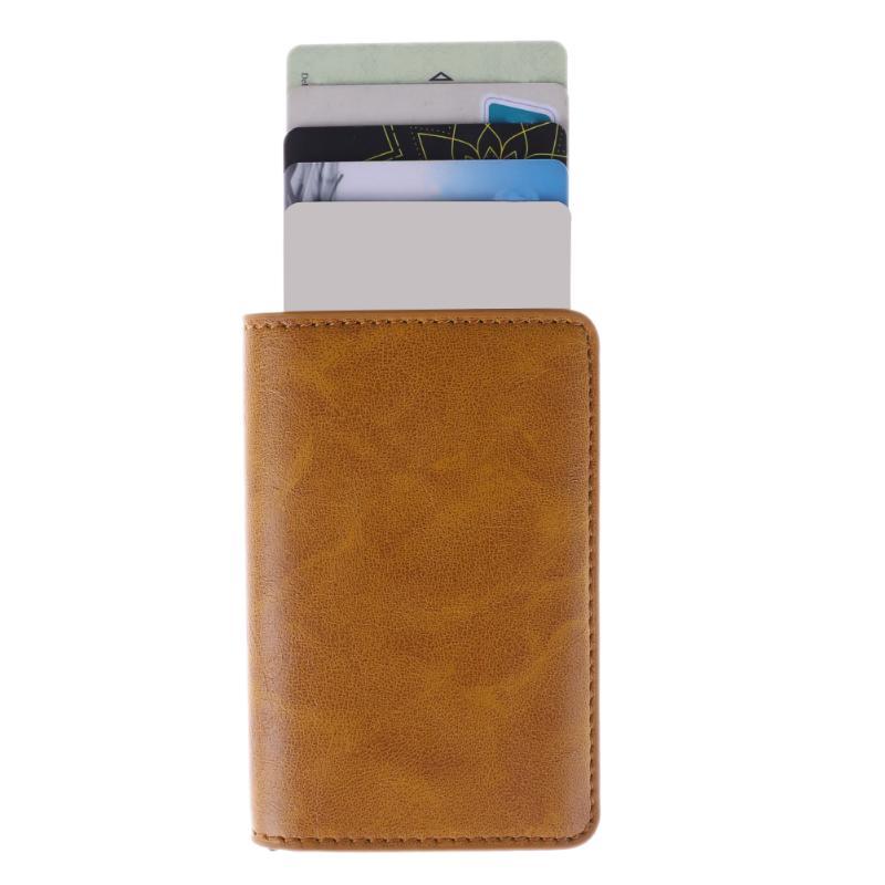 Masculino Titular Do Cartão de RFID de Metal Liga de Alumínio Titular do Cartão de Crédito PU Carteira de Couro Homens Carteira Antifurto Cartão Pop Up Automático caso