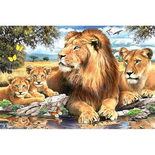 5D DIY lion family Diamond painting cross stitch full embroidery Europe Home decoration Rhinestone animal series p66