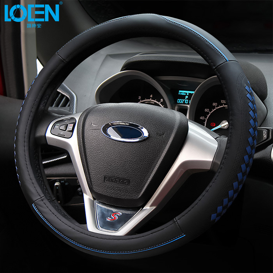 1PC High quality Weave&Leather Car Steering Wheel Cover for toyota bmw audi chevrolet honda ford buick hyundai kia Nissan