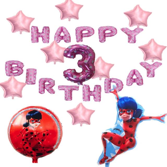 24pcs Miraculous Ladybug Party Decor Birthday Foil Balloons Air